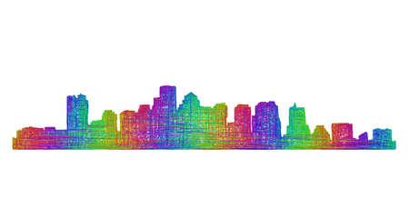 Boston city skyline silhouette - multicolor line art