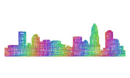 Charlotte city skyline silhouette - multicolor line art