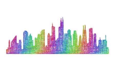 Chicago city skyline silhouette - multicolor line art