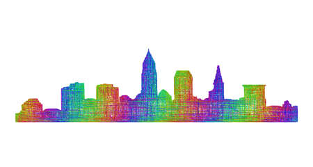 Cleveland city skyline silhouette - multicolor line art