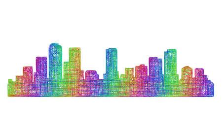 Денвер: Denver city skyline silhouette - multicolor line art Иллюстрация