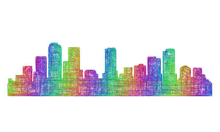 Denver city skyline silhouette - multicolor line art Illustration