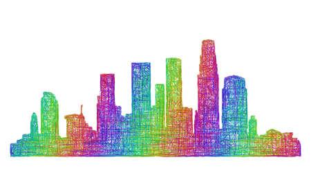 angeles: Los Angeles city skyline silhouette - multicolor line art Illustration