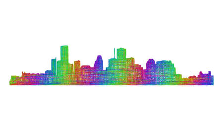 tx: Houston city skyline silhouette - multicolor line art