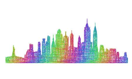 ニューヨーク市のスカイライン シルエット - マルチカラー ライン アート デザイン  イラスト・ベクター素材