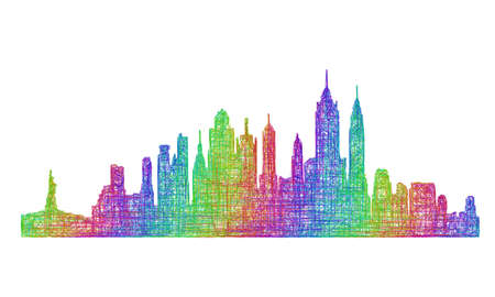 new york city panorama: New York City skyline silhouette - multicolor line art design