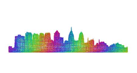 philadelphia: Philadelphia city skyline silhouette - multicolor line art