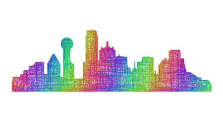 tx: Dallas city skyline silhouette - multicolor line art