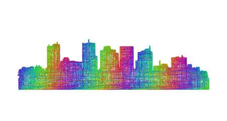ave fenix: Phoenix Horizonte de la ciudad silueta - línea arte multicolor
