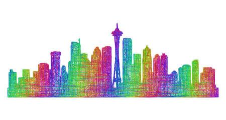Seattle city skyline silhouette - multicolor line art