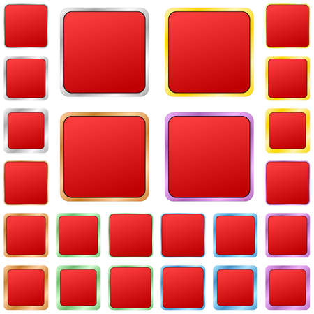 blank button: Red blank square metal button design set