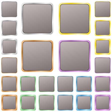 blank button: Grey blank square metal button design set