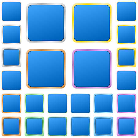 square buttons: Blue blank square metal button design set