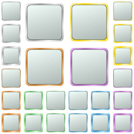 page borders: Light silver blank square metal button design set