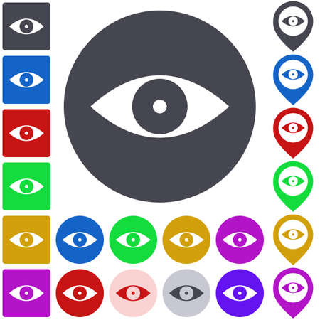 eye icon: Color eye icon set. Square, circle and pin versions. Illustration