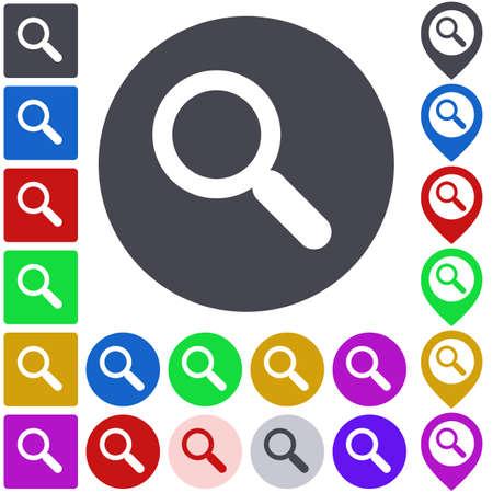 search icon: Color search icon set. Square, circle and pin versions.