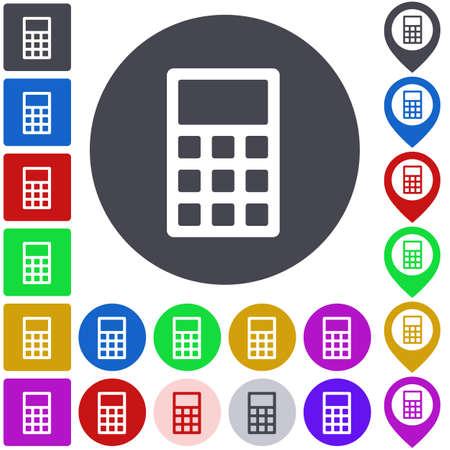 calculator icon: Color calculator icon set. Square, circle and pin versions. Illustration