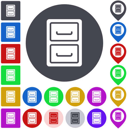 files: Color archive icon set. Square, circle and pin versions. Illustration