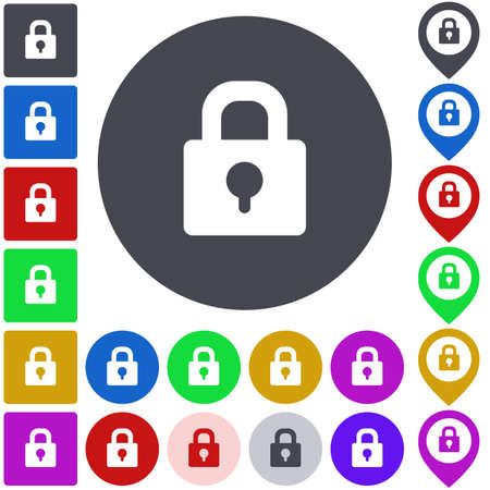 lock icon: Color lock icon set. Square, circle and pin versions.