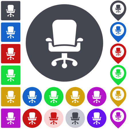 swivel: Color swivel chair icon set. Square, circle and pin versions.