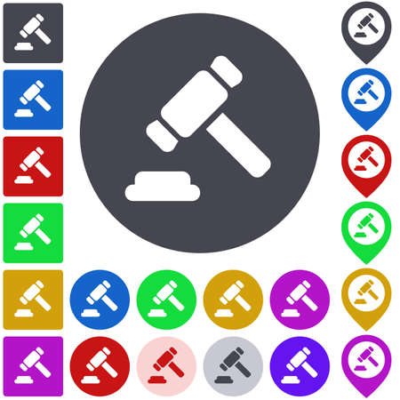 legal icon: Color legal icon set. Square, circle and pin versions.