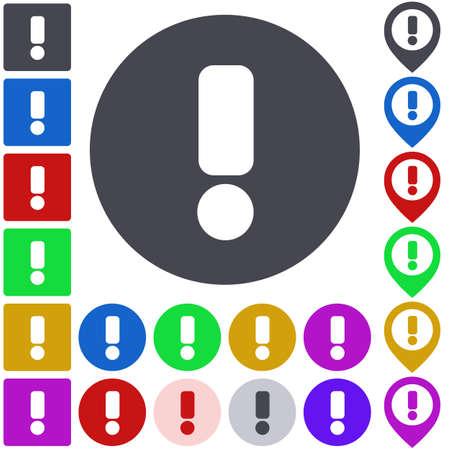 warning icon: Color warning icon set. Square, circle and pin versions.