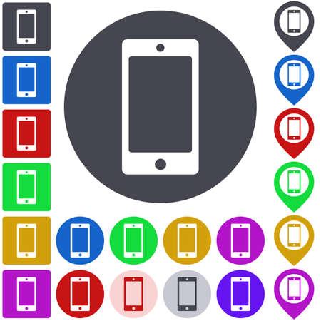 smartphone icon: Color smartphone icon set. Square, circle and pin versions.
