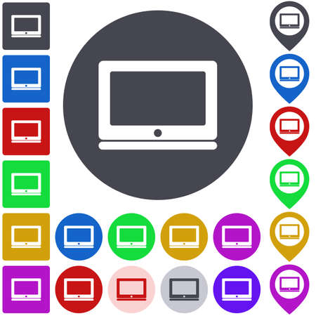 laptop icon: Color laptop icon set. Square, circle and pin versions.