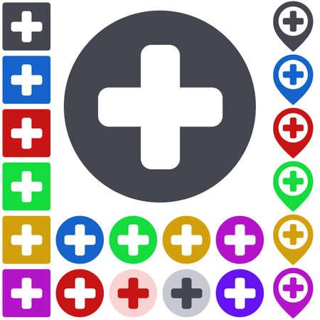 plus icon: Color plus icon set. Square, circle and pin versions.