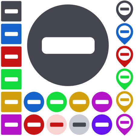 versions: Color minus icon set. Square, circle and pin versions.
