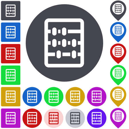 Color abacus icon set. Square, circle and pin versions. Illustration