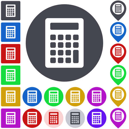 versions: Color calculator icon set. Square, circle and pin versions. Illustration