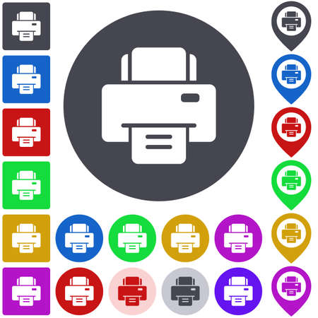 color printer: Color printer icon set. Square, circle and pin versions. Illustration