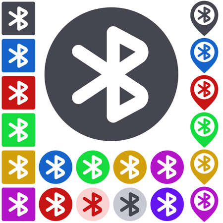 bluetooth: Color bluetooth icon set. Square, circle and pin versions.