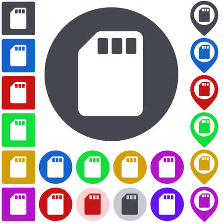 memory card: Color memory card icon set. Square, circle and pin versions.
