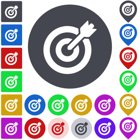 target icon: Color target icon set. Square, circle and pin versions.
