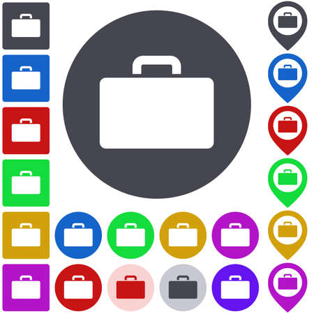 briefcase icon: Color briefcase icon set. Square, circle and pin versions. Vectores