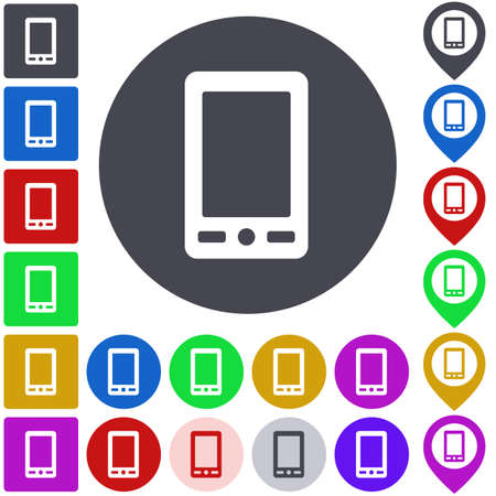 cellphone: Color cellphone icon set. Square, circle and pin versions.