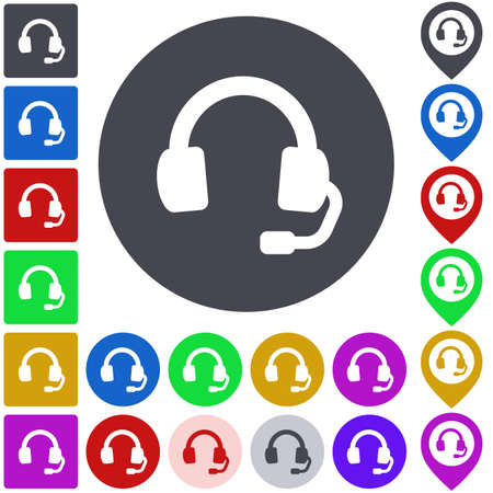 headphone: Color headphone icon set. Square, circle and pin versions.