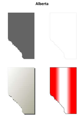 alberta: Alberta province blank vector outline map set