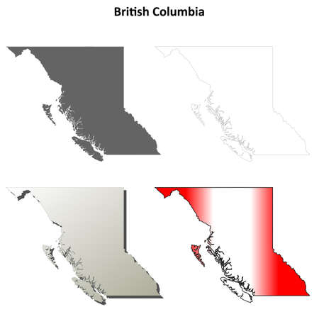 british columbia: British Columbia province blank vector outline map set Illustration