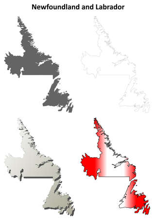 newfoundland: Newfoundland and Labrador province blank vector outline map set Illustration