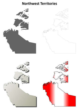northwestern: Northwest Territories blank vector outline map set