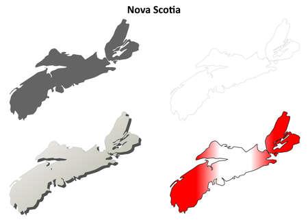 nova: Nova Scotia province blank vector outline map set