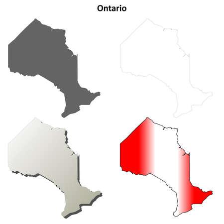 ontario: Ontario province blank vector outline map set