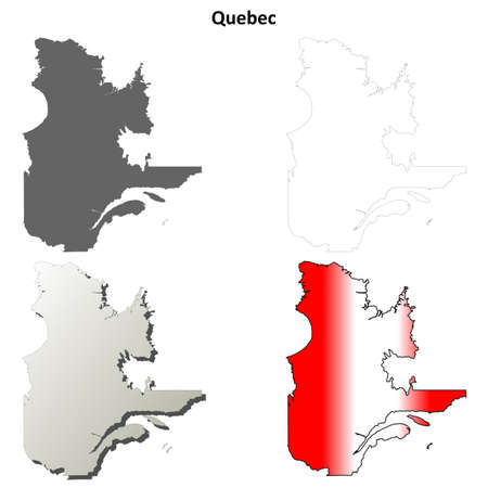 quebec: Quebec province blank vector outline map set