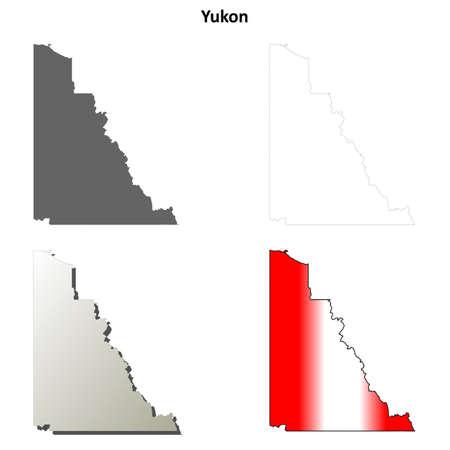 yukon territory: Yukon territory blank vector outline map set