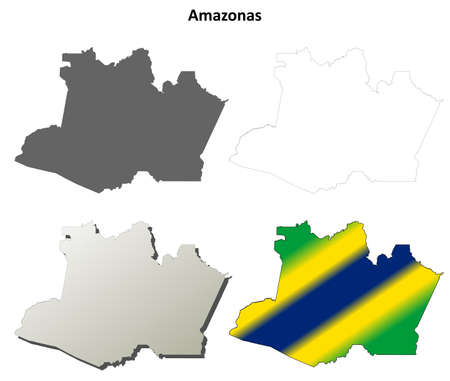 amazonas: Amazonas blank detailed vector outline map set