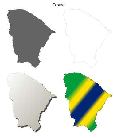 coastline: Ceara blank detailed vector outline map set
