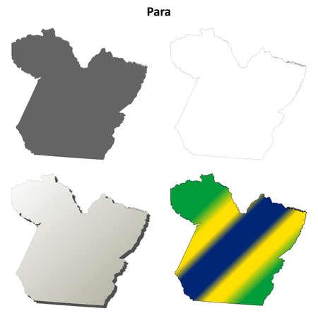 para: Para blank detailed vector outline map set Illustration